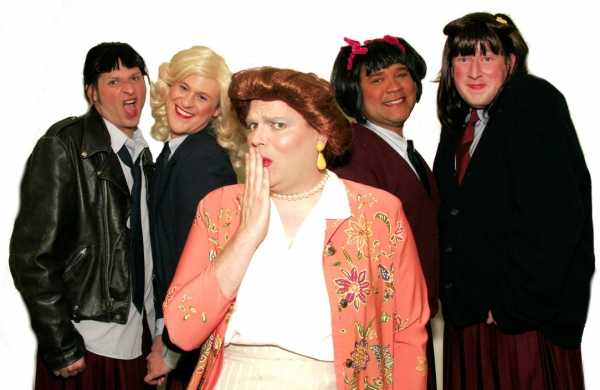 Mrs. Garrett (Joe Bailey, center) is surrounded by her Eastland girls: (from left to right) Jo (Jamie Richards), Blair (Richard Payton), Tootie (Jerry Haines) and Natalie (Joe Plambeck)