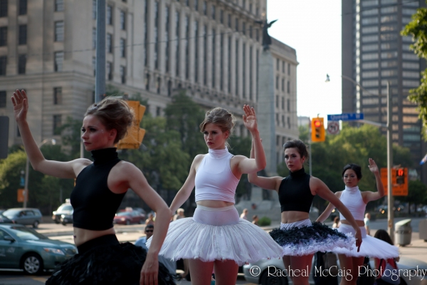 Dancers sporting tutu by Label (on behalf of the FDCC), tutu by Wardrobe Coordinator Grant Heaps, tutu by Canadaâs National Ballet School, tutu Nichola Aoki in collaboration with Metatecture