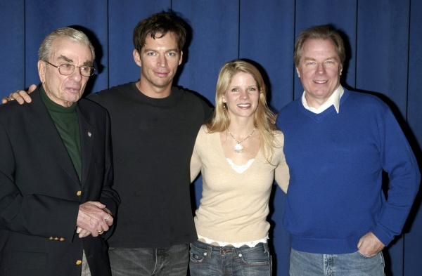 "A candid photo op with the cast of the Roundabout Theatre Company's Broadway Production of ""THE PAJAMA GAME"" (starring Harry Connick, Jr., Kelli O'Hara & Michael McKean pictured with Richard Adler) at the Duke  Rehearsal Studios on 42nd Street in New York"