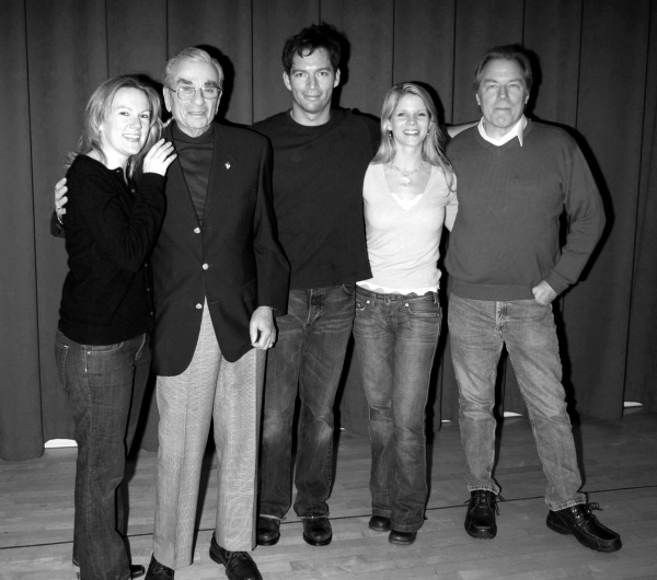 "A candid photo op with the cast of the Roundabout Theatre Company's Broadway Production of ""THE PAJAMA GAME"" (starring Harry Connick, Jr., Kelli O'Hara & Michael McKean pictured with Richard Adler and Director / Choreographer Kathleen Marshall) at the Duk"