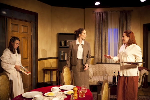 Julia Giolzetti, Elizabeth Belonzi and Molly Lovell in a scene from Long View Theater Company's production of Paul Zindel's AND MISS REARDON DRINKS A LITTLE.