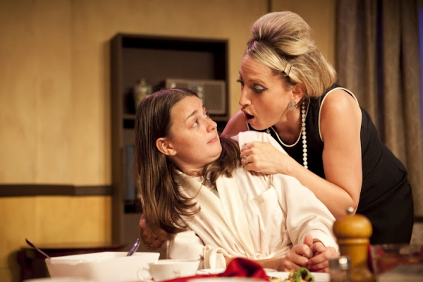 Julia Giolzetti and Deanna Henson in a scene from Long View Theater Company's production of Paul Zindel's AND MISS REARDON DRINKS A LITTLE.