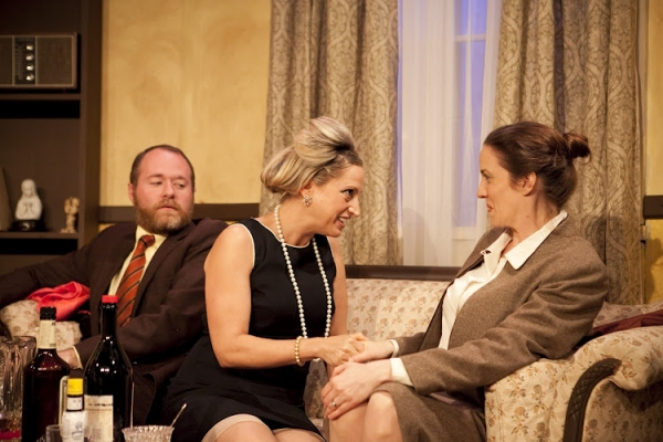 Isaac Platizky, Deanna Henson and Elizabeth Belonzi in a scene from Long View Theater Company's production of Paul Zindel's AND MISS REARDON DRINKS A LITTLE.