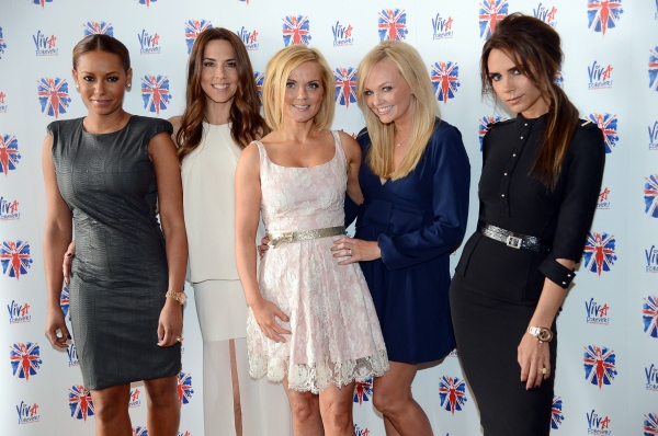 The Spice Girls: Melanie Brown, Melanie Chisholm, Geri Halliwell, Emma Bunton and Victoria Beckham