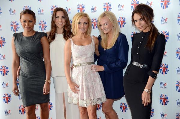 The Spice Girls: Melanie Brown, Melanie Chisholm, Geri Halliwell, Emma Bunton and Victoria Beckham