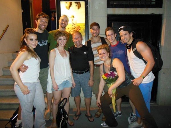 Stephen Flaherty (center) with the cast of TRIASSIC PARQ The Musical. at Stephen Flaherty Visits SILENCE! The Musical and TRIASSIC PARQ