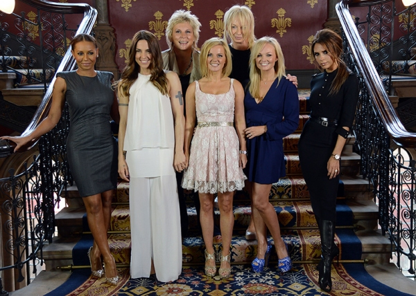 Melanie Brown, Melanie Chisholm, Geri Halliwell, Emma Bunton and Victoria Beckham with Jennifer Saunders and Judy Craymer. Photos by Richard Young/Rex