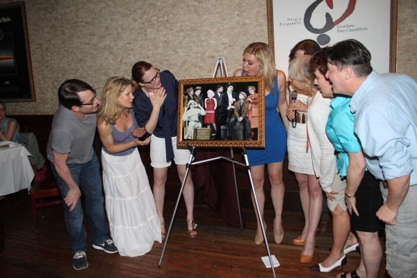 Matthew Broderick, Kelli O'Hara, Jennifer Laura Thompson, Robyn Hurder, Valerie Smaldone, Judy Kaye and Michael McGrath at Tony's di Napoli Inducts NICE WORK IF YOU CAN GET IT onto Broadway Wall Of Fame!