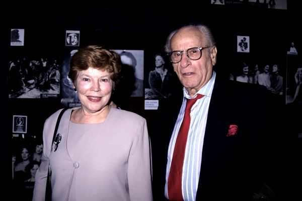 Eli Wallach and Anne Jackson photographed at the opening night of 'Rose Tatoo' party held at O'Neals Restaurant in NYC on April 30, 1995.