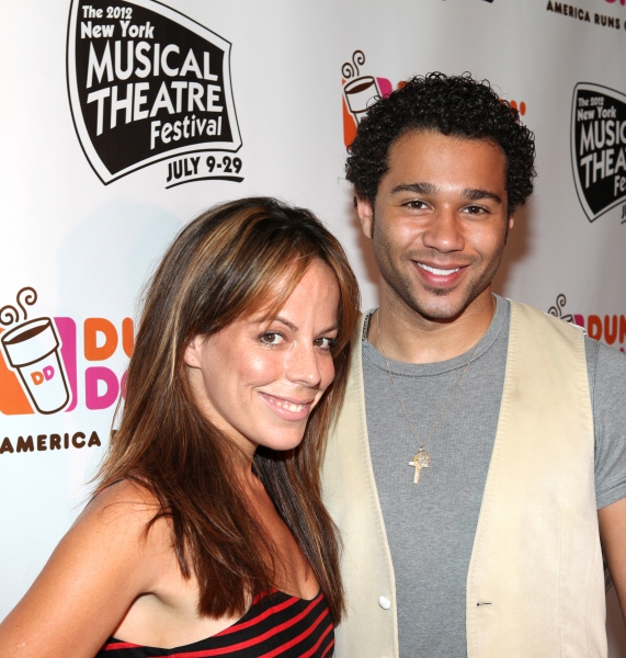 Leslie Kritzer & Corbin Bleu backstage at the New York Musical Theatre Festival at the NYMF Hub in Times Square, New York on 7/3/2012.