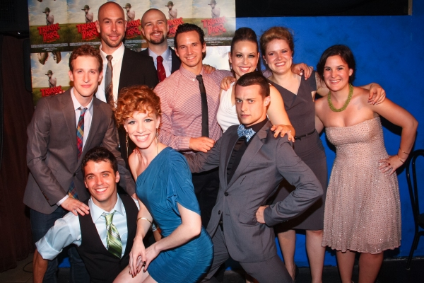 Alex Wyse, Marshall Pailet, Wade McCollum, Lindsay Nicole Chambers, Lee Seymour, Brandon Espinoza, Shelley Thomas, Kyle Mullins, Claire Neumann and Assistant Director Nora Ives at Lindsay Nicole Chambers et al. at TRIASSIC PARQ THE MUSICAL's Opening Night at SoHo Playhouse