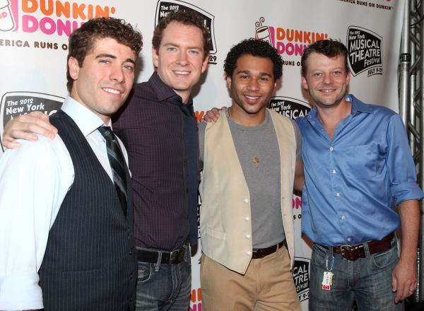 Omar Lopez-Cepero, Adam Monley, Corbin Bleu and Jeremy Kushnier at Corbin Bleu, Jeremy Kushnier et al. Backstage at the NYMF Preview Performance!