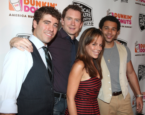(L-R) Adam Monley, Omar Lopez-Cepero, Leslie Kritzer and Corbin Bleu  at Corbin Bleu, Jeremy Kushnier et al. Backstage at the NYMF Preview Performance!