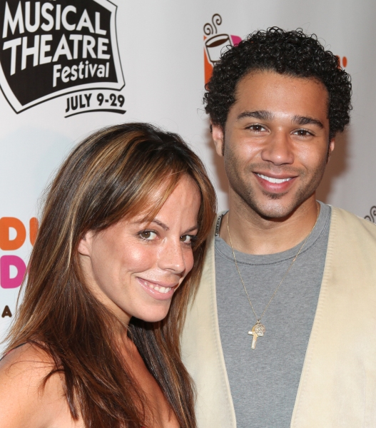 Leslie Kritzer & Corbin Bleu  at Corbin Bleu, Jeremy Kushnier et al. Backstage at the NYMF Preview Performance!