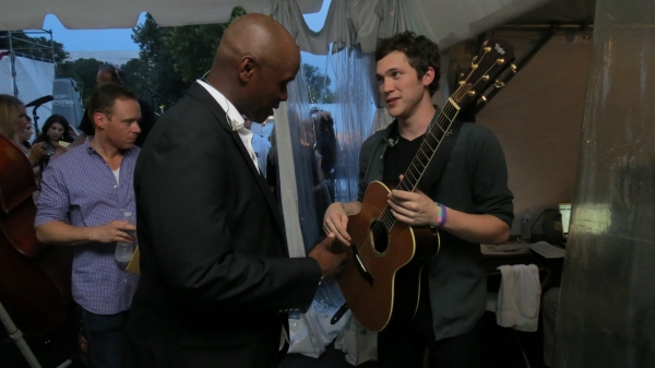 Javier Colon Backstage with Phillip Phillips Photo
