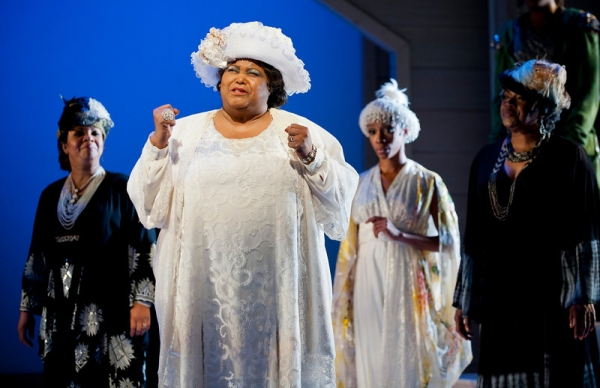 Felicia P. Fields as Mother Shaw (center) with ensemble members Shari Addison, Yusha-Marie Sorzano and Laura Walls