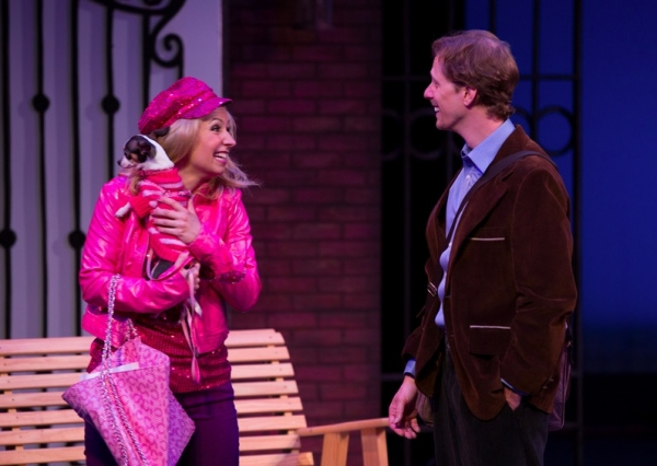 Elle Woods (Caitlin Elizabeth Reilly*) introduces her dog, Bruiser to Emmett Forrest (Jamie Koeth*), a teaching assistant at Harvard Law School