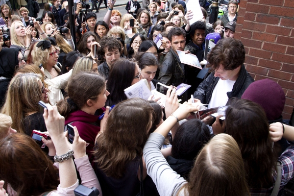 Benedict Cumberbatch and fans at Benedict Cumberbatch, Rebecca Hall, et al. Lead Royal Court's LOOK BACK IN ANGER Reading