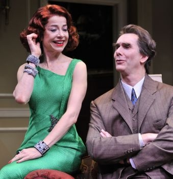 (Left to Right) Josie de Guzman as Barbara Amory and Todd Waite as Arthur Hastings in the Alley Theatre's production of Agatha Christie's BLACK COFFEE.