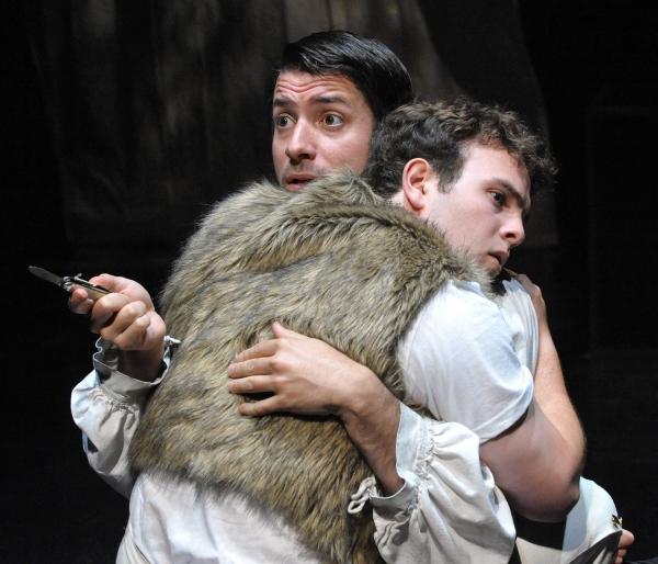 Noah Berman (back facing out) as Cat and Joe Varca as Victor