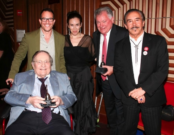 (seated): co-honoree Shubert Organization's Philip J. Smith; (standing, l-r): director Michael Mayer, Artistic Director Mia Yoo, co-honoree Shubert Organization's Robert E. Wankel, Board of Directors President Frank Carucci