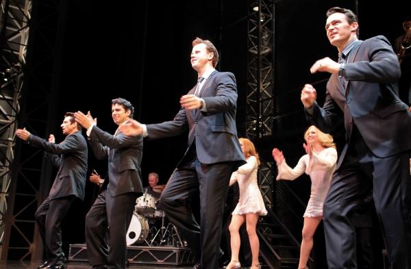 Andy Karl, John Lloyd Young, Quinn VanAntwerp, Matt Bogart at John Lloyd Young Returns to JERSEY BOYS - Curtain Call!