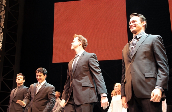 Andy Karl, John Lloyd Young, Quinn VanAntwerp, Matt Bogart at John Lloyd Young Returns to JERSEY BOYS - Curtain Call!