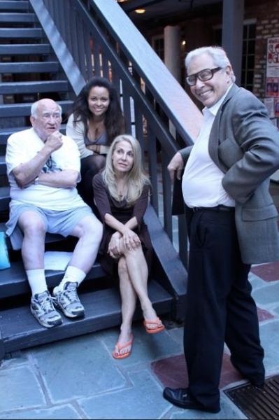 Ed Asner, Susan Ateh (top step), Begee Barkett (bottom step), Mark Rydell  Photo
