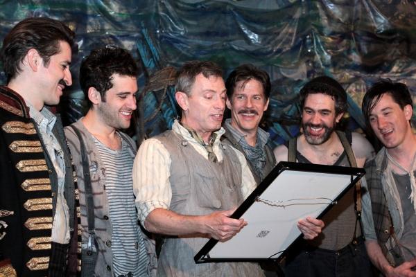 Matthew Saldivar, Adam Chanler-Berat, Arnie Burton, Rick Holmes, Kevin Del Aguila, Carson Elrod at PETER AND THE STARCATCHER Cast Celebrates 100 Performances!