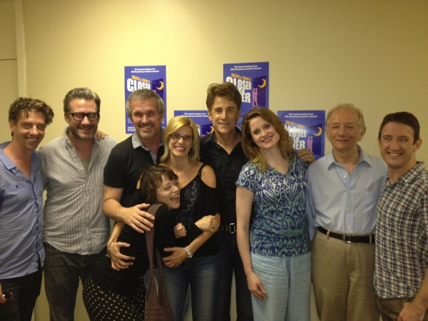 Christian Borle, Alan Stevens Hewitt, George Dvorsky, Judith Blaser, Jenn Colella, Sal Viviano, Christiane Noll, Jonathan Tunick and Andrew Gerle gather for a group photo backstage after a recent performance. at Christian Borle, Judith Blazer and More Visit York's CLOSER THAN EVER