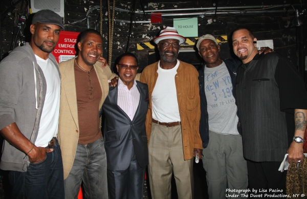Boris Kodjoe, Eriq La Salle, Stephen Byrd, Front Row Productions, producer of A Streetcar Named Desire, Delroy Lindo, Danny Glover and Sinbad backstage at the Broadhurst Theatre on Wednesday