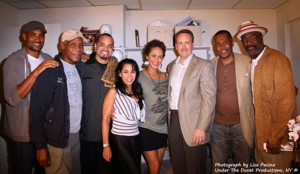A Streetcar Named Desire stars Daphne Rubin-Vega and Nicole Ari Parker (c) are joined by Boris Kodjoe, Danny Glover, Sinbad, Robert Greenblatt,  President of NBC, Eriq La Salle and Delroy Lindo backstage at the Broadhurst Theatre on Wednesday