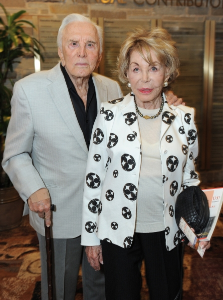 "Kirk Douglas and his wife Anne Douglas attend the world premiere opening of ""The Exorcist"" at the Geffen Playhouse on Wednesday July 11, 2012 in Westwood, California.  (Photo by Jordan Strauss/Invision for the Geffen Playhouse/AP Images)"
