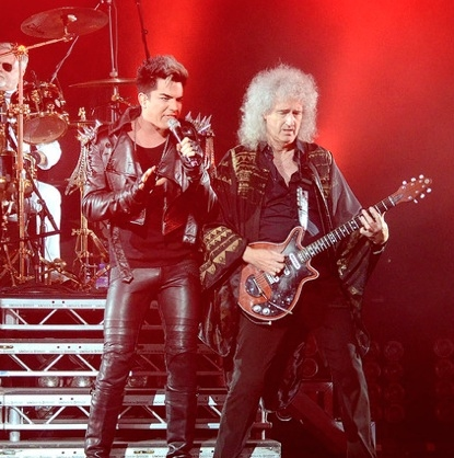 Adam Lambert & Brian May at Adam Lambert Performs UK Concerts With QUEEN