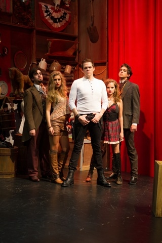 From Left to Right:  Grant Brown (Martin Van Buren); Morgan Starr (Ten Little Indians Soloist); Kregg Daily (ANdrew Jackson); Stephanie Styles (Rachel Jackson);  Billy Cohen (James Madison). Populism, Yeah Yeah!
