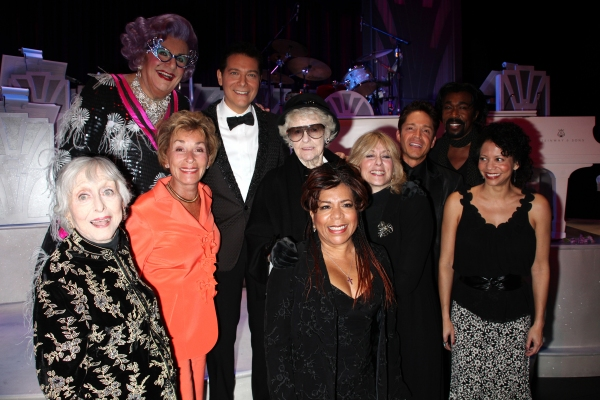 Actors Celeste Holm, Dame Edna, Judge Judy Sheindlin, Michael Feinstein, musician Valerie Simpson, actress Elaine Stritch, actress Judith Light, musician Dave Koz , musician Nick Ashford and actress Gloria Reuben Backstage after the Broadway Opening Final at Remembering Celeste Holm