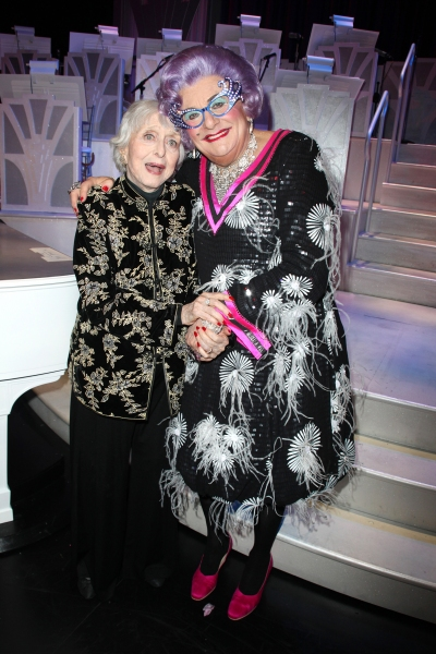 Dame Edna & Celeste Holm backstage after  the Broadway Opening Finale & Night Curtain Call for ALL ABOUT ME at the Henry Miller Theatre in New York City. March 18, 2010
