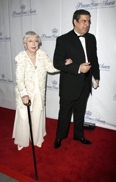 Celeste Holm  & husband Frank Basile arriving for the Princess Grace Awards honoring Glenn Close at Cipriani 42nd Street in New York City. October 15, 2008