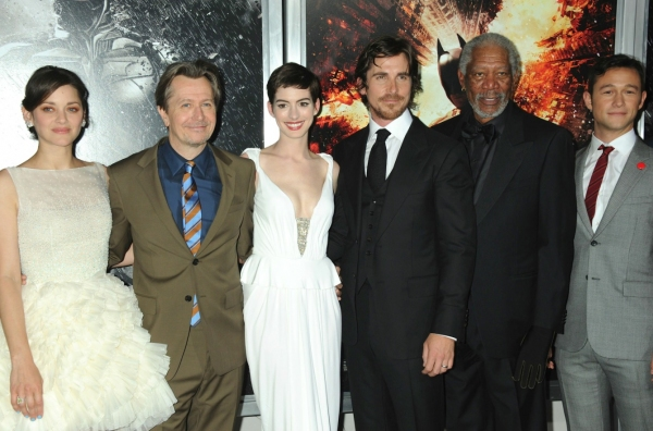 Marion Cotillard, Gary Oldman, Anne Hathaway, Christian Bale and Morgan Freeman at Anne Hathaway, Christian Bale at 'BLACK KNIGHT' Premiere in NYC