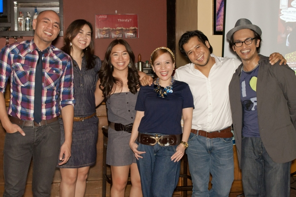 Cast members OJ Mariano, Caisa Borromeo, Liesl Batucan, and Lorenz Martinez with Upstart Productions' Cathy Azanza-Dy and Onyl Torres at press luncheon (Photo by Dale Bacar)