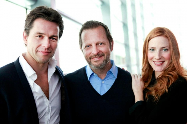 Julian Ovenden,  Rob Ashford and Rosalie Craig  at Meet the Cast of the FINDING NEVERLAND Musical!