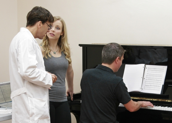 Michael Andrew and Marissa McGowan rehearse a song at the piano with help from conductor Stephen Kummer. at Sneak Peek - THE NUTTY PROFESSOR Stars Rehearse in Nashville!