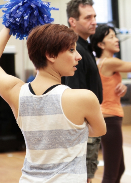 Ensemble member, Meghan Glogower, follows choreographer JoAnn Hunter's lead at rehearsal
