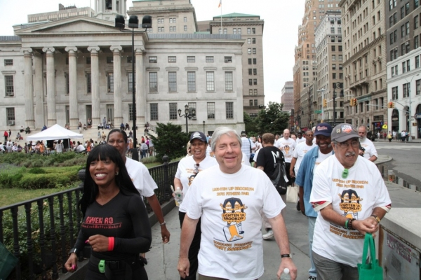 BP Markowitz leads Brooklynites on power walk from Borough Hall