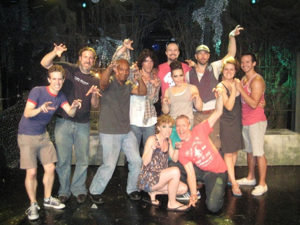 Lindsay Nicole Chambers and Chris Barron (front) with The Spin Doctors and the Cast of TRIASSIC PARQ The Musical at the SoHo Playhouse at The Spin Doctors Visit TRIASSIC PARQ The Musical