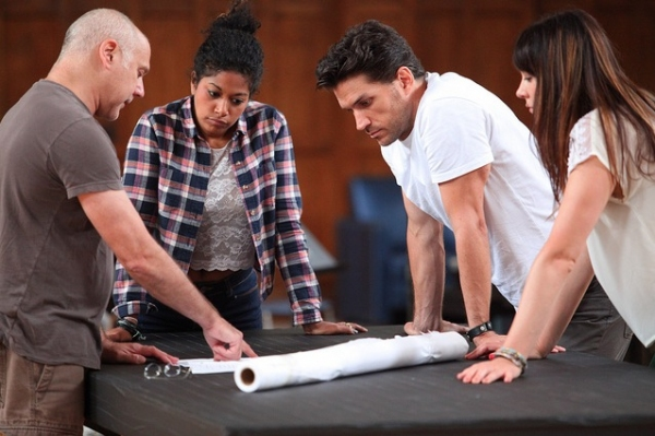 Choreographer Doug Varone in rehearsal with Rebecca Naomi Jones, Will Swenson, and Dee Roscioli
