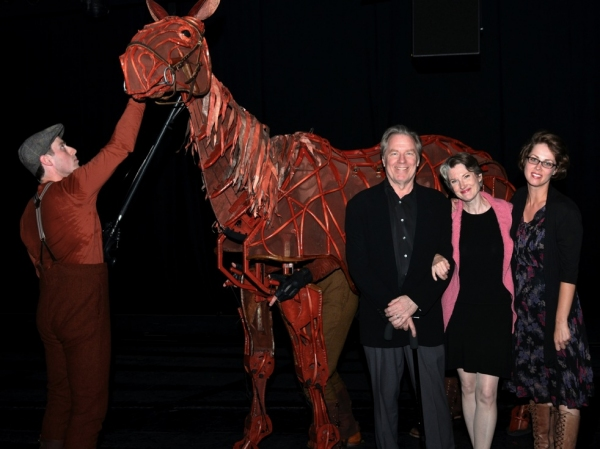 Michael McKean, Annette O'Toole, and Annette's daughter Nell Geisslinger visiting with WAR HORSE's Joey at the Ahmanson in LA